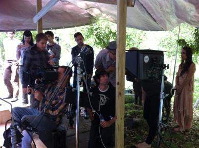 Crew setting up for the first shot